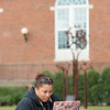 Student studying in Horace Mann Quad at Buffalo State College.