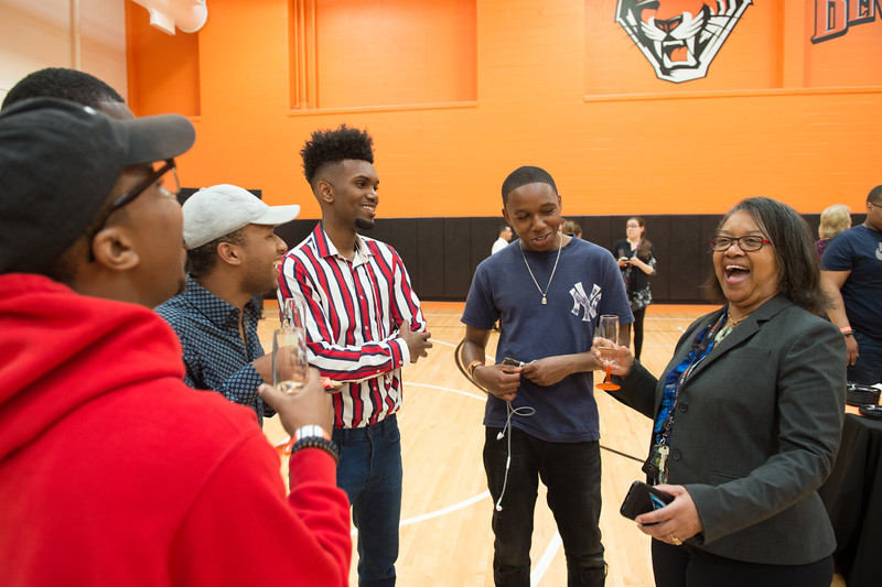 President Katherine Conway-Turner talking with students during the Baccalaureate Commencement Preview and Celebration at Buffalo State College.