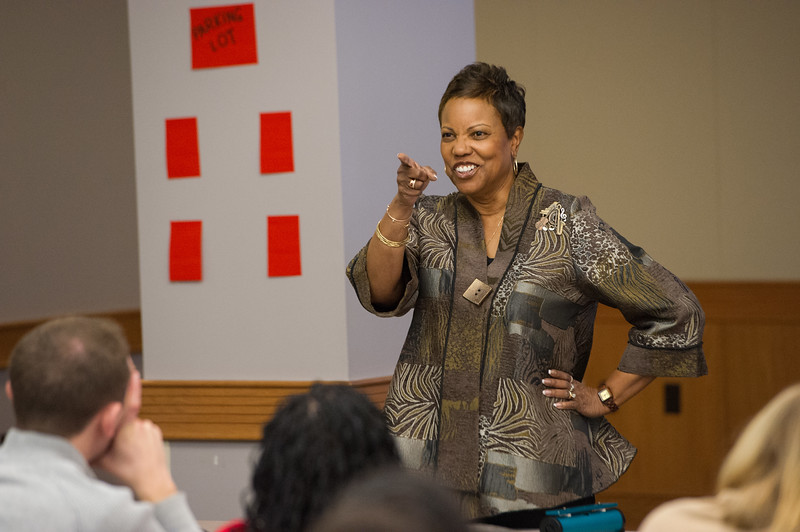 Dr. Marcia Tate sharing her 20 techniques for teaching with education students and faculty at Buffalo State College.