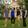 Students with Buffalo State landmarks for English Department web site.