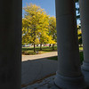 Fall scenic through Rockwell Hall columns at SUNY Buffalo State College.