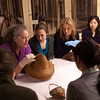 Photos of Art Conservation students studying artifacts during field trip to Buffalo Museum of Science.