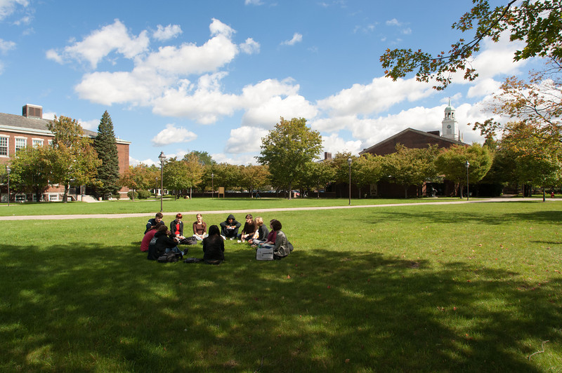 Fall campus scenes with students.