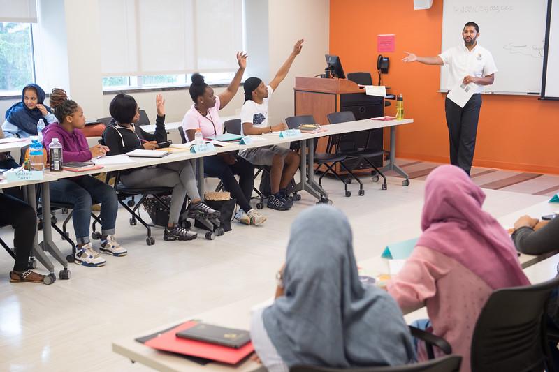 EOP Senior Academic Advisor Jude Jayatilleke speaks to Say Yes Program students at Buffalo State College.