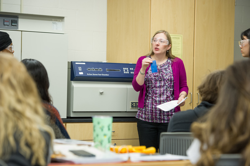 Dr. Arlesa Shephard teaching her Textile Evaluation class at SUNY Buffalo State College.
