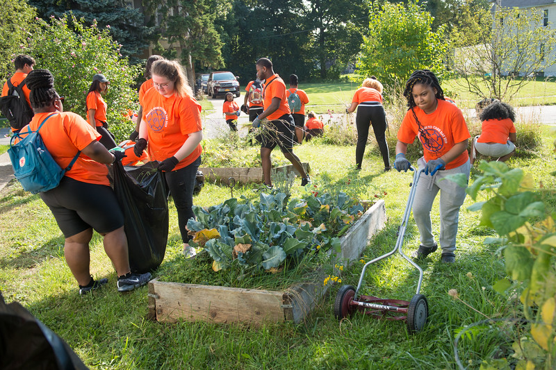 Bengals Dare to Care Day of community service at SUNY Buffalo State College.