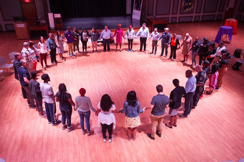 Inaugural campus community circle celebrating the opening of the Restorative Justice Center at Buffalo State College.