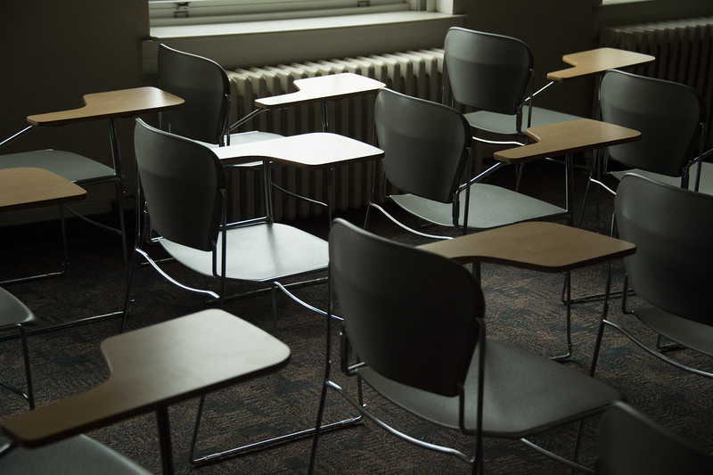 Empty classroom during winter break at Buffalo State College.