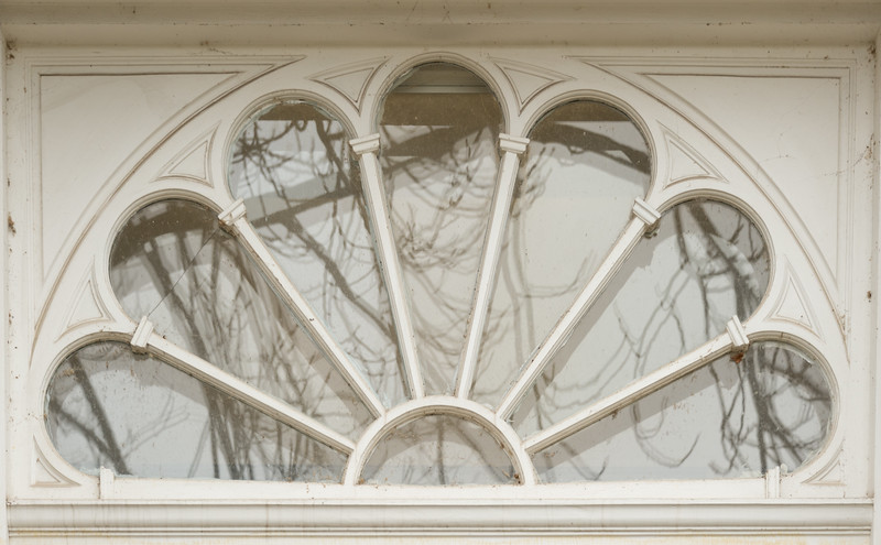 Ketchum Hall entry way window at Buffalo State College.