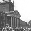 1937 marching band infront of Rockwell Hall at Buffalo State College.