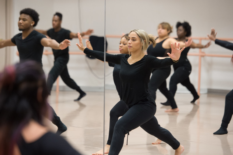 Visiting Assistant Professor Naila Ansari teaching her Modern Dance class at SUNY Buffalo State College.