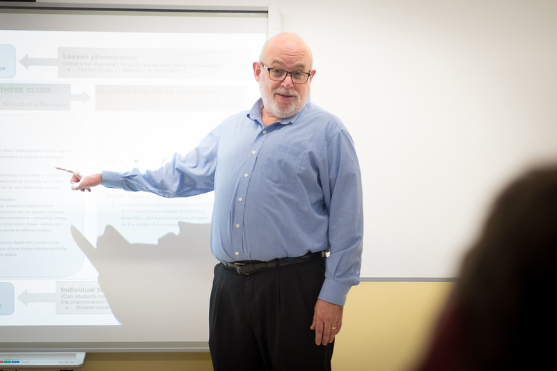 Earth Sciences and Science Education professor Joe Zawicki lecturing at SUNY Buffalo State College.