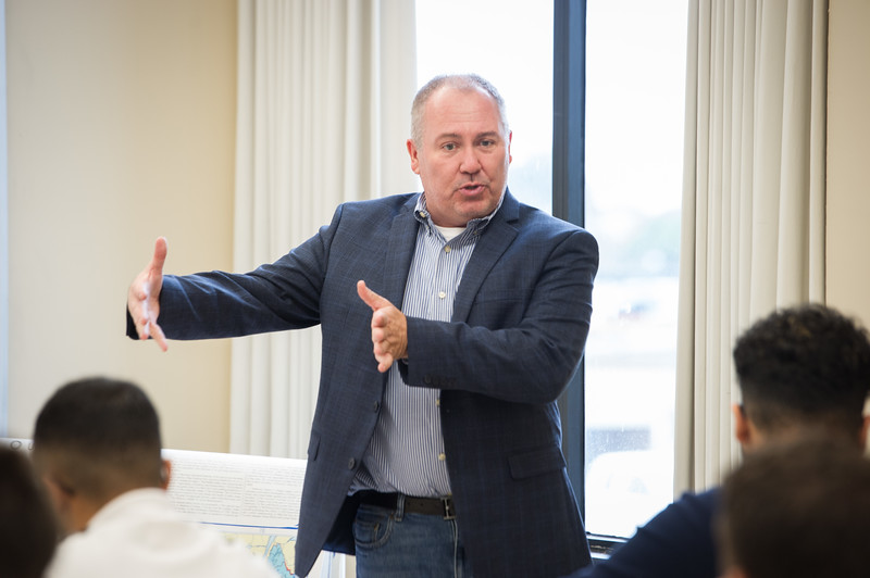 Criminal Justice professor James Sobol teaching his Police Process class at SUNY Buffalo State College.