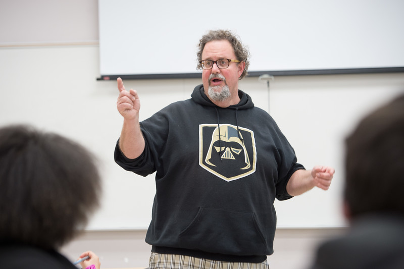 Lecturer Roy Bakos teaching class at SUNY Buffalo State College.