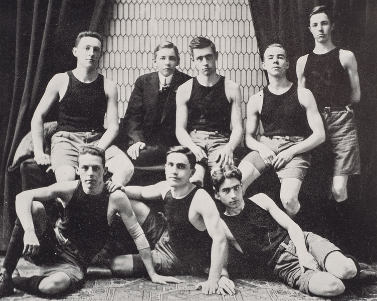 1912 photo of the men's basketball team for 150th anniversary celebration at SUNY Buffalo State College.