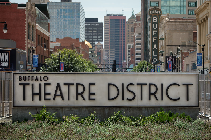 Theater District sign in downtown Buffalo, New York.