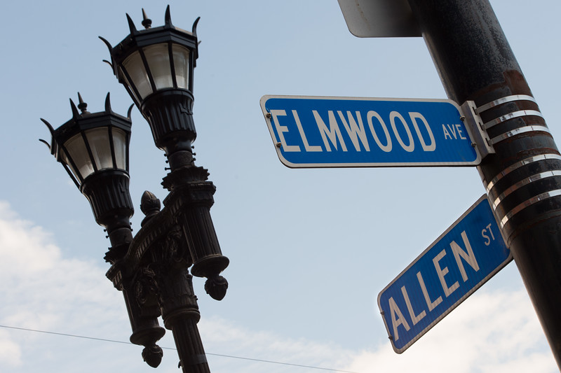 Elmwood and Allen street signs in Buffalo, New York.