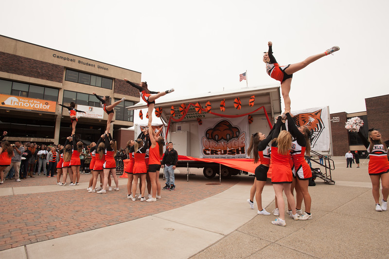 Cheerleaders at Homecoming Pep Rally at SUNY Buffalo State.