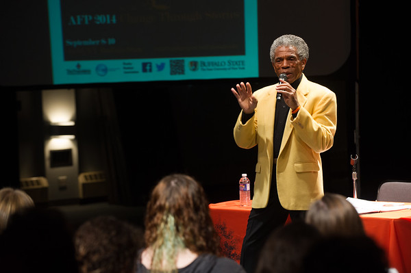 """""""Wisdom of the Ancient Art of Storytelling"""" presentation by Andre DeShields presentation during day-two of the Anne Frank Project at SUNY Buffalo State."""