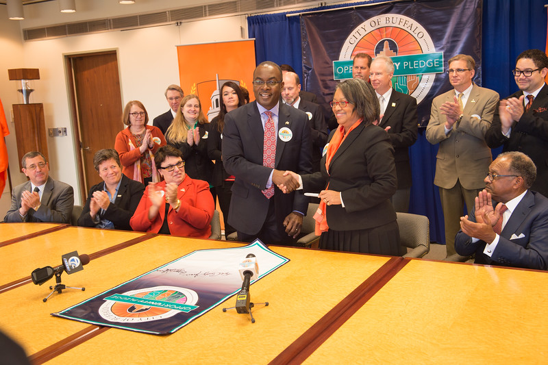 Signing ceremony for the City of Buffalo Opportunity Pledge with Mayor Byron Brown and President Katherine Conway-Turner at Buffalo State College.