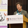 Provost Melanie Perreault speaking at the Faculty and Staff Research and Creativity Fall Forum at Buffalo State College.