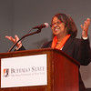 President Catherine Conway-Turner speaking at the Transforming Lives Campaign closing ceremony celebration at Buffalo State College.