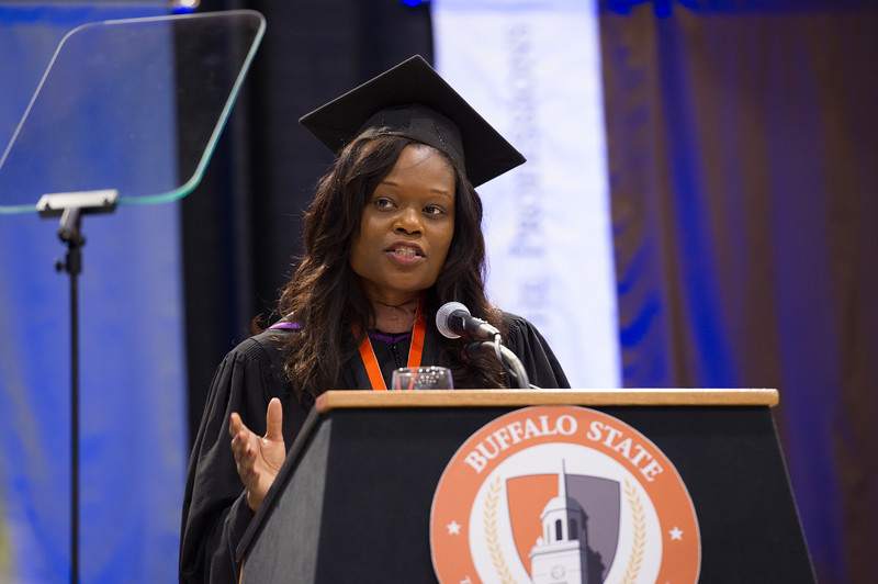 New York state assemblywoman Rodneyse Bichotte giving the commencent address at the 10am Undergraduate Commencement at SUNY Buffalo State.