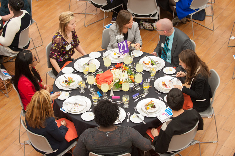 Manners Matter etiquette dinner for students sponsored by the Career Development Center and Hospitality and Tourism department at SUNY Buffalo State.