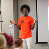"""Hunger Banquet"" presentation by Lazarus Lynch during day-two of the Anne Frank Project at SUNY Buffalo State."