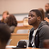 """Students attending """"The Complexity of Racial Identity: African vs. African American"""" talk by Dr. Steve Perazo, Department of History at Buffalo State College."""