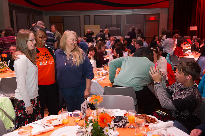 President Katherine Conway-Turner speaking with guests at the second annual Scholar and Donor Breakfast at SUNY Buffalo State.