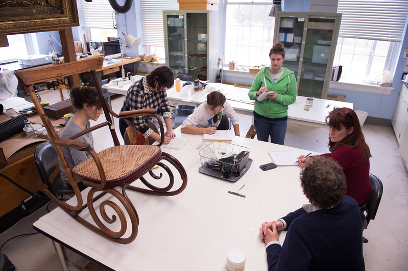 Students working in Art Conservation objects lab at Buffalo State College.