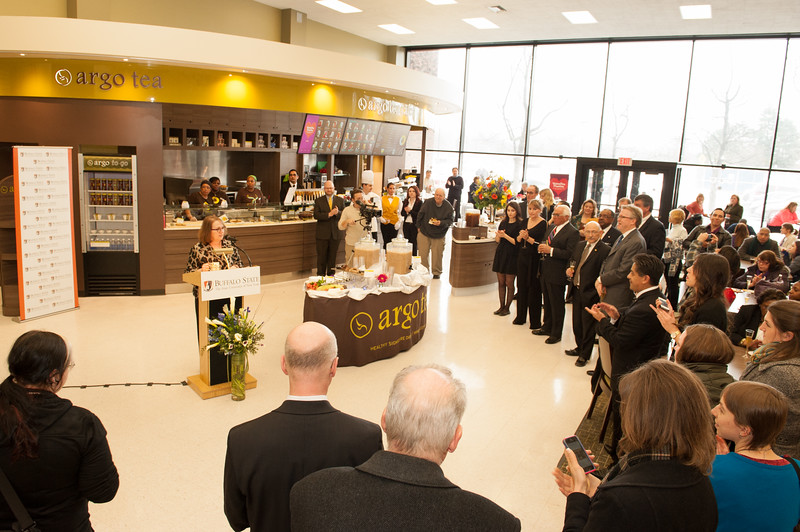 Grand opening of the Argo Tea Cafe in the E.H. Butler Library at SUNY Buffalo State.