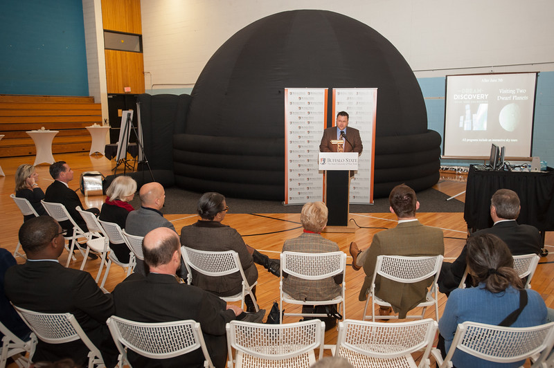 SUNY Buffalo State unveils temporary portable planetarium to be used until new Whitworth Ferguson Planetarium is completed.