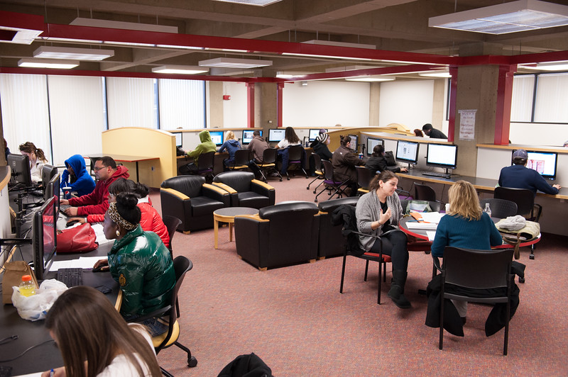 Students working in E.H. Butler Library Study Quad at Buffalo State.