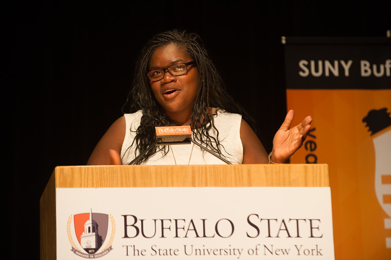 Raven Owusu speaking at the Dare to Innovate program presented by the Small Business Development Center and the School of the Professions at SUNY Buffalo State.