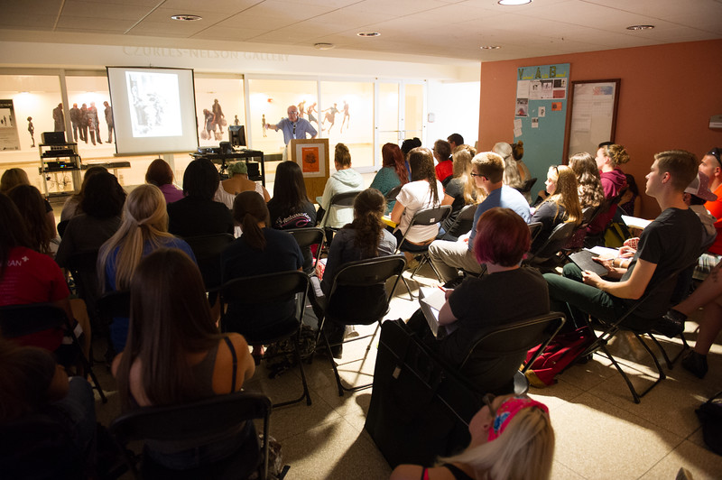 """""""I am Poor, I am Hungry"""" artist talk by James A. Allen during day-two of the Anne Frank Project at SUNY Buffalo State."""