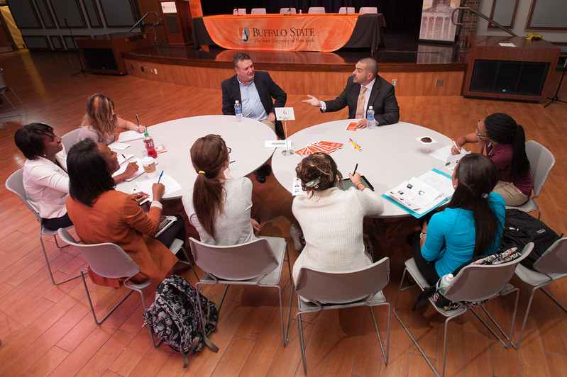 """Professional Roundtable Conversations"" in criminal justice presented by the Alumni Association at SUNY Buffalo State."