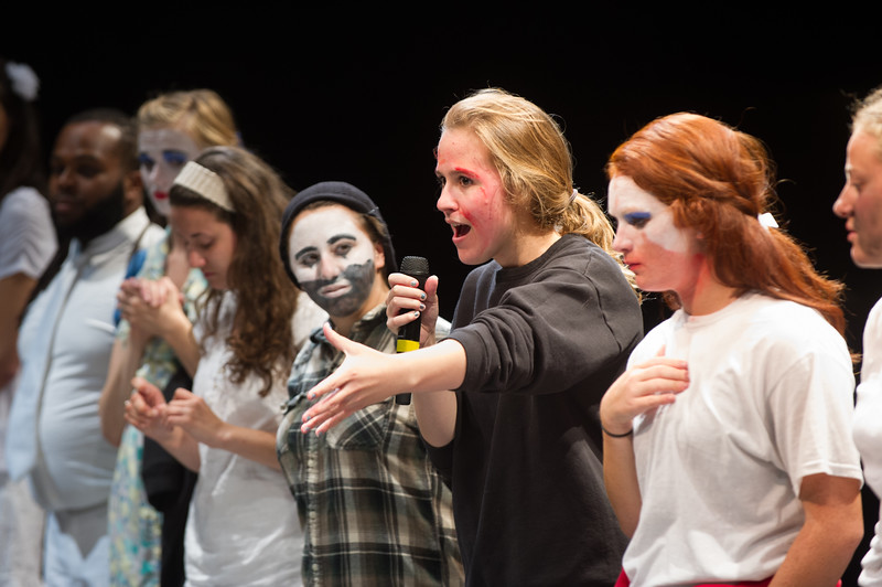 "Theater production of ""Sweatshirt"" during day-two of the Anne Frank Project at SUNY Buffalo State."