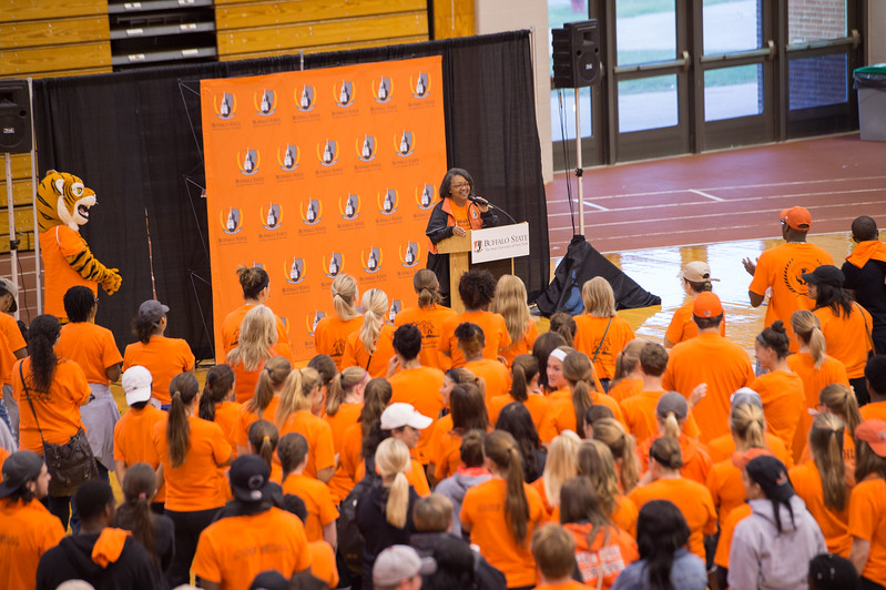 President Katherine Conway-Turner speaking to student volunteers during Bengals Dare to Care community service day at SUNY Buffalo State.