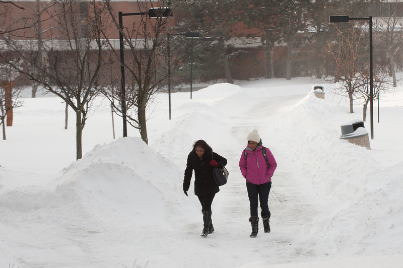 Winter campus scenes at SUNY Buffalo State.