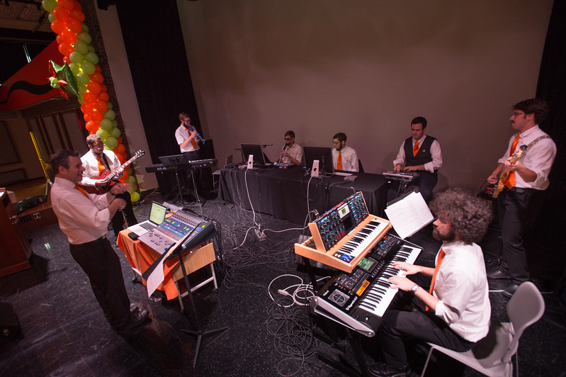 Digital Music Ensemble performing at the Transforming Lives Campaign closing ceremony celebration at Buffalo State College.