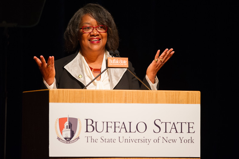 President Katherine Conway-Turner speaking at the President's Fall Forum at SUNY Buffalo State.