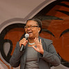 President Katherine Conway-Turner speaking at Homecoming Pep Rally at SUNY Buffalo State.