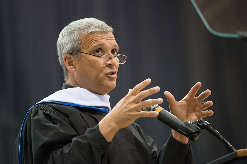 Social activist Carl Wilkens speaking at the 2pm Undergraduate Commencement at Buffalo State.