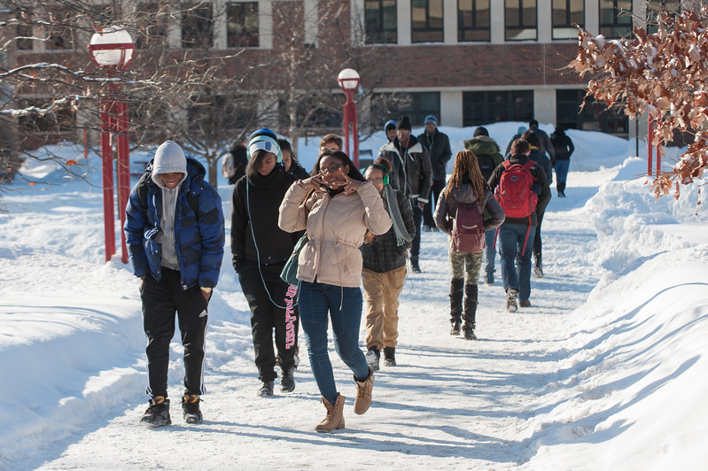 Winter campus scene at SUNY Buffalo State.