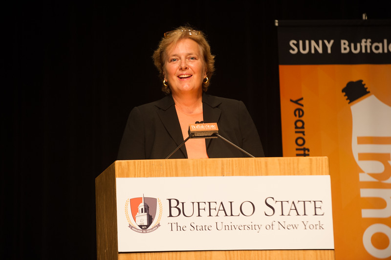 Charlotte Walker speaking at the Dare to Innovate program presented by the Small Business Development Center and the School of the Professions at SUNY Buffalo State.