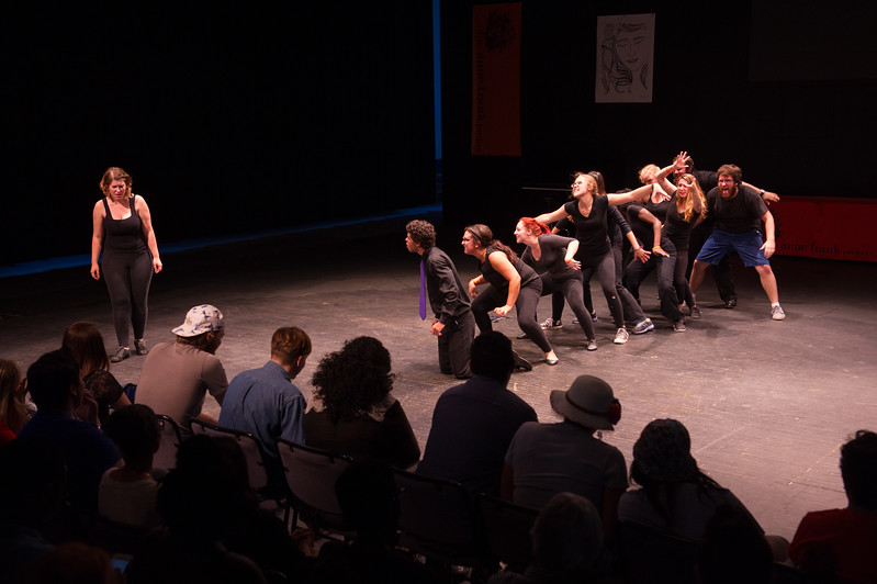 """Production of the play,""""Mirror/Mirror""""during day-one of the Anne Frank Project at SUNY Buffalo State. Play was written and produced by AFP students who traveled to Rwanda in January 2015."""