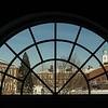 Winter campus scene through window at SUNY Buffalo State.