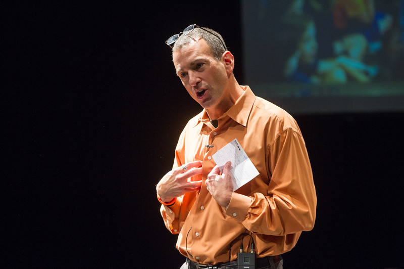 Professor Drew Kahn addressing audience during day-one of the Anne Frank Project at SUNY Buffalo State.